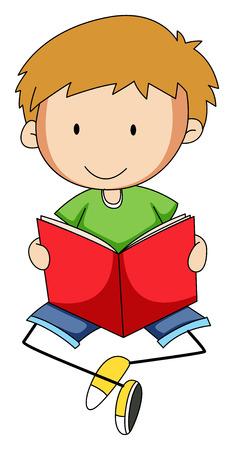 Nahaufnahme glücklich Junge ein Buch zu lesen Illustration