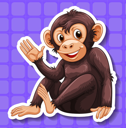 closeup: Closeup happy monkey with blue background