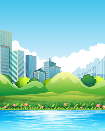 downtown: River scene with downtown in the background Illustration