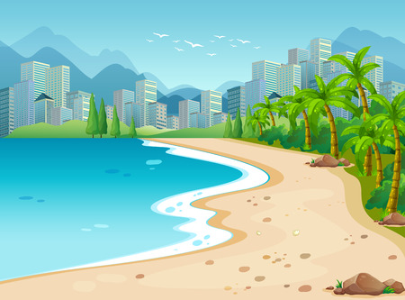 Ocean scene with city background Illustration