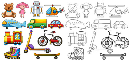 toy plane: Different type of classic toys Illustration