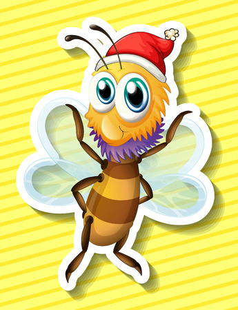 closeup: Closeup happy bee flying with yellow background