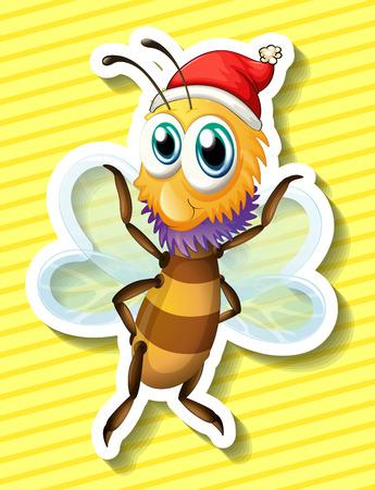 closeup: Nahaufnahme gl�cklich Biene fliegt mit gelbem Hintergrund Illustration