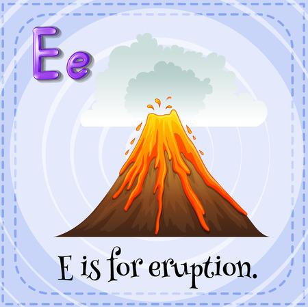 e alphabet: Flashcard alphabet E is for eruption Illustration