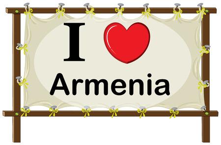 wooden frame: I love Armenia sign in wooden frame Illustration