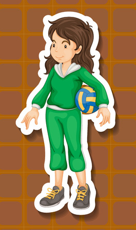 Sportgirl in green jumpsuit holding a volleyball Vector