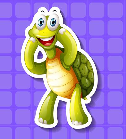 closeup: Closeup happy turtle on blue background
