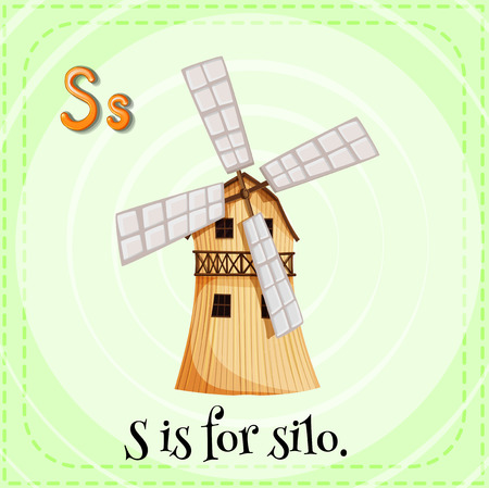 children s: English flashcard letter S is for silo Illustration