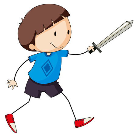 swordfight: Closeup happy boy playing with a sword Illustration