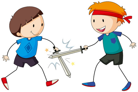 sword fighting: Two boy playing sword fighting together Illustration