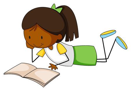 libro de cuentos: Primer ni�a feliz leyendo un libro de cuentos