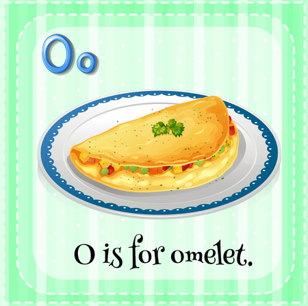 omelet: English flashcard letter O is for omelet
