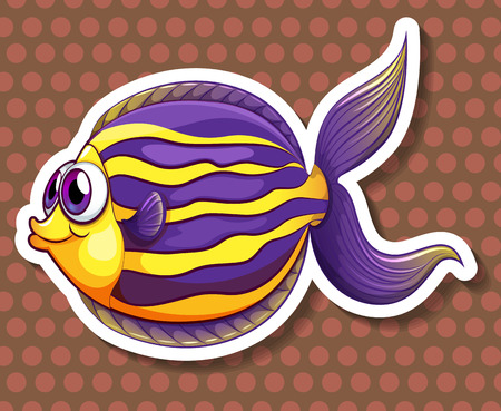 closeup: Closeup happy fish with brown polkadot background