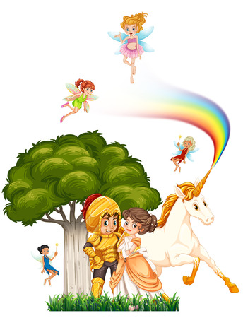 unicorn: Knight and princess hugging with fairies and unicorn