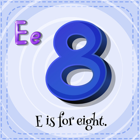 countable: Flashcard letter E is for eight Illustration