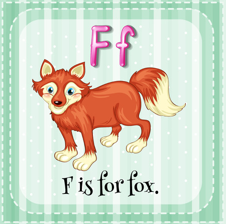 Flashcard letter F is for fox