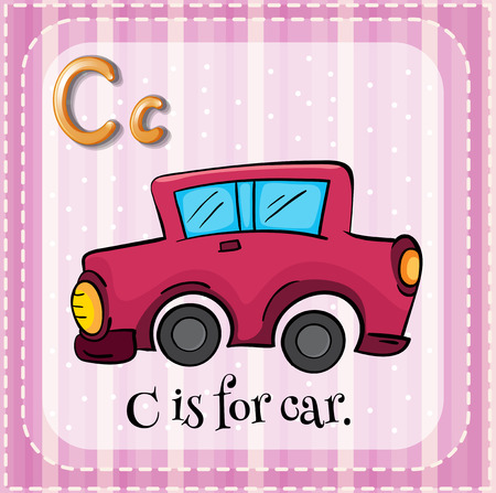phonetic: Flashcard letter C is for car