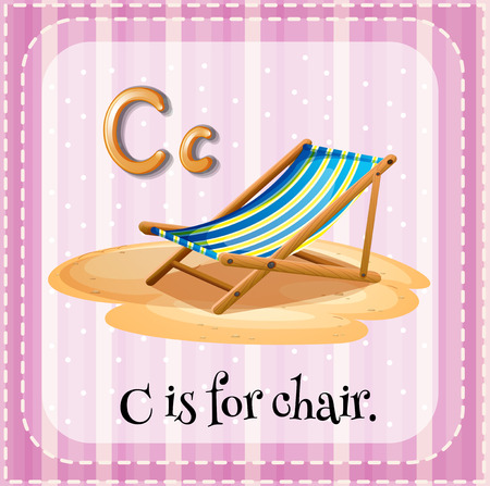 outdoor seating: Flashcard letter C is for chair