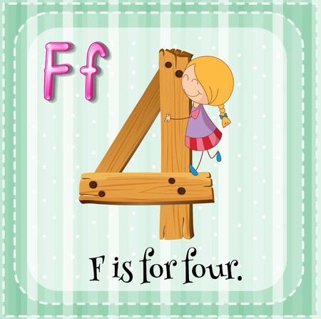Flashcard letter F is for four Vector