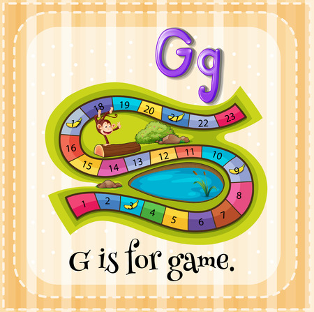 phonetic: Flashcard letter G is ofr game