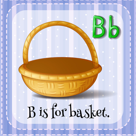 phonetic: Flashcard letter B is for basket