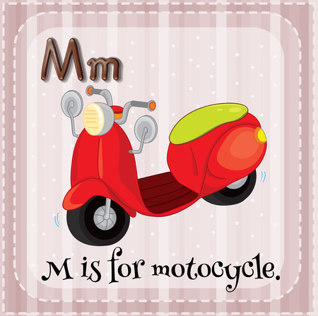 phonetic: Flashcard letter M is for motorcycle Illustration