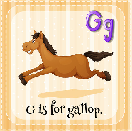 phonetic: Flashcard letter G is for gallop