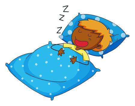 snoring: Closeup boy sleeping  on blue pillow Illustration