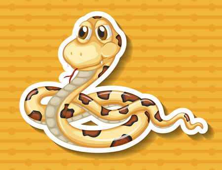 closeup: Closeup poisonous snake on yellow background