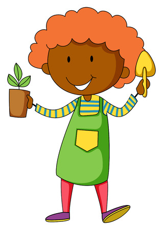potted plant: Closeup happy gardener holding potted plant and shovel Illustration