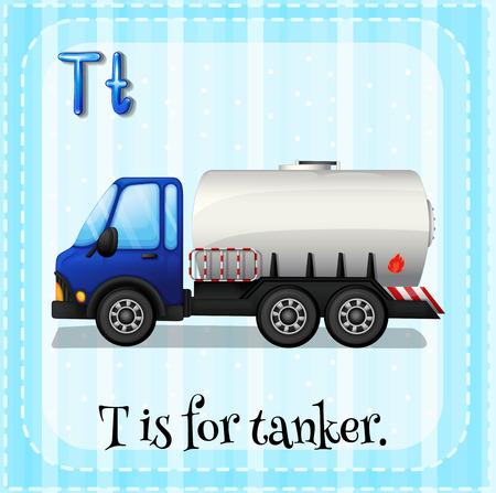tanker: Flashcard letter T is for tanker Illustration