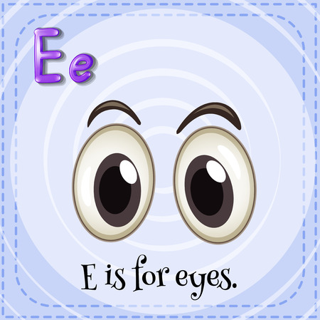 body parts: Flashcard letter E is for eyes Illustration
