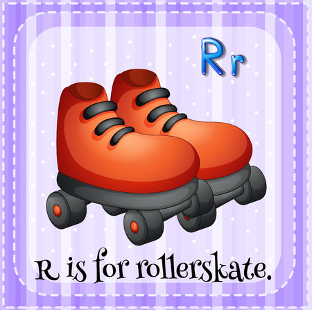 rollerskate: Flashcard letter R is for rollerskate