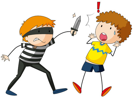 theif: Robber threatening a victim with a knife Illustration