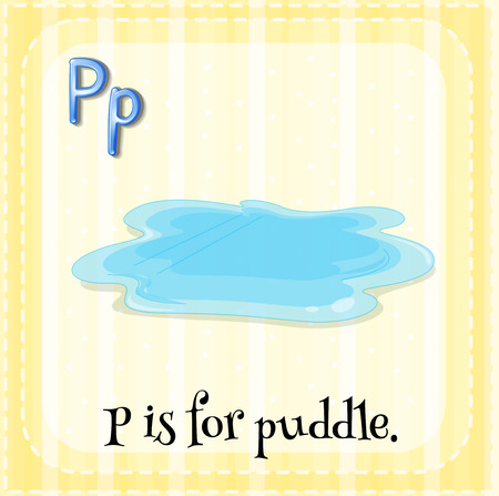 puddle: Flashcard letter P is for puddle