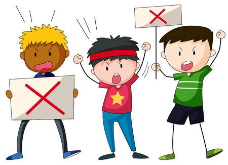 niños con pancarta: Tres huelguistas con carteles en la protesta