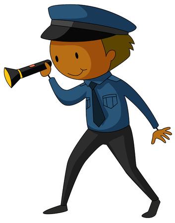 guard duty: Closeup security guard in uniform holding a flashlight Illustration