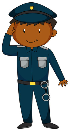 handcuff: Policeman in blue uniform with handcuff