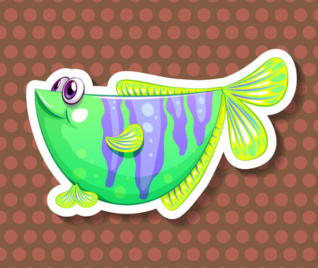 closeup: Closeup happy green fish on polkadot background Illustration