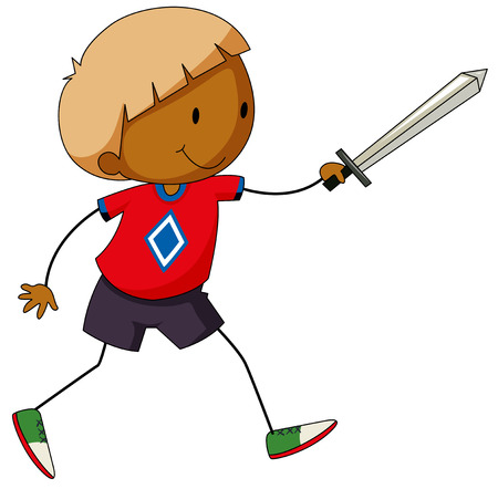 sword fighting: Closeup happy boy playing sword fighting Illustration