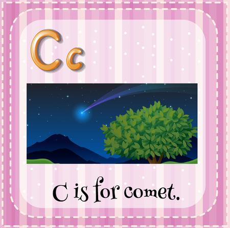 comet: Flashcard letter C is for comet Illustration