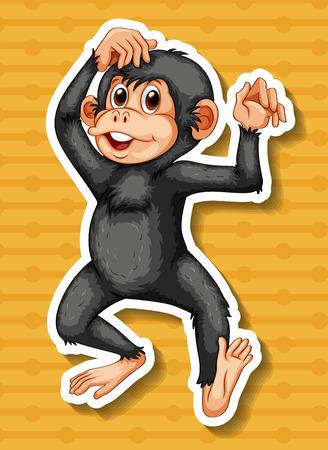 closeup: Nahaufnahme gl�cklich Affe, der auf gelbem Hintergrund