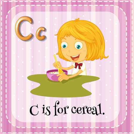 Flashcard letter C is for cereal Vector