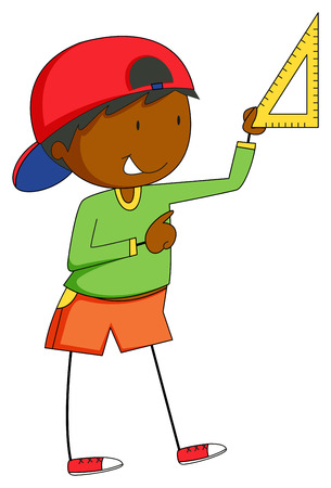 stick children: Closeup man holding a triangle to measure something Illustration