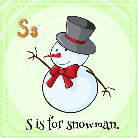 linguistic: Flashcard letter S is for snowman