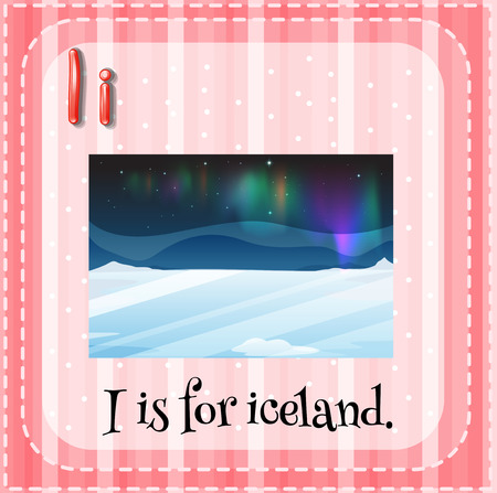 i kids: Flashcard letter I is for iceland Illustration