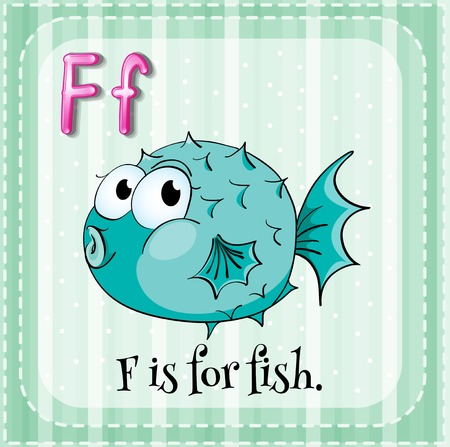 Flashcard letter F is for fish Vector