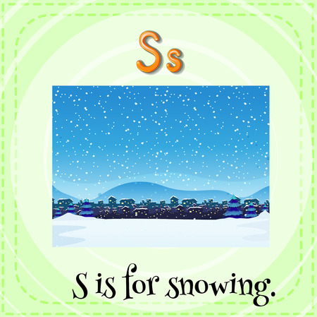 kid s illustration: Flashcard letter S is for snowing