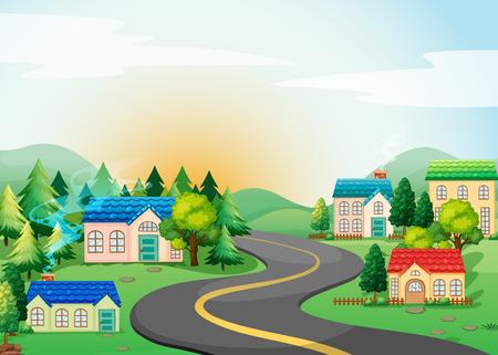시골에서 마을의 장면