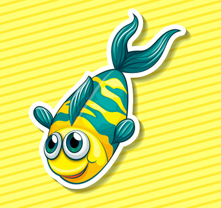 swiming: Closeup happy fish swiming on yellow background Illustration
